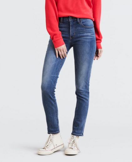 Blue wash high rise skinny jeans
