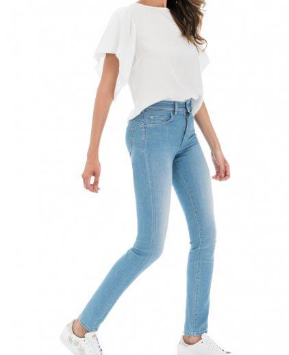 Light blue high waist slim leg jeans