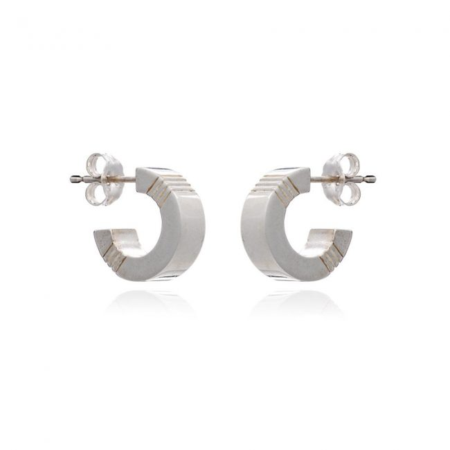 Cabbage White Silver Mini Hoops