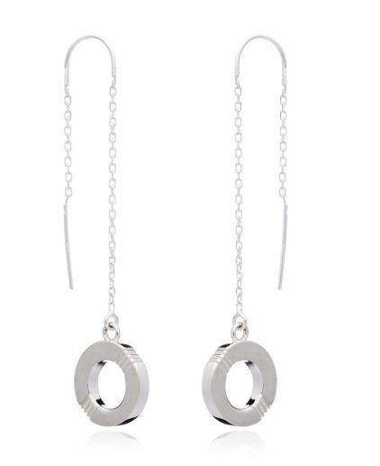 Cabbage White Infinity Silver Drop ear rings