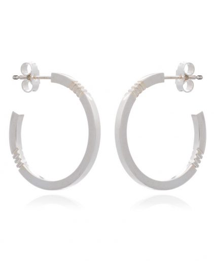 Cabbage White Silver Midi Hoop Ear rings