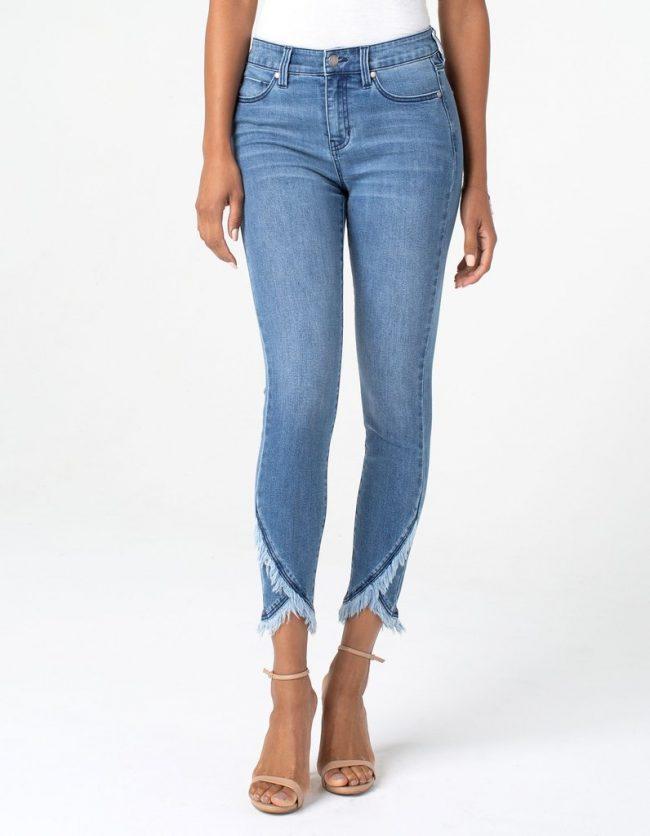 Light denim blue crop jeans with fringing