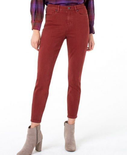 High rise dark cherry skinny jeans