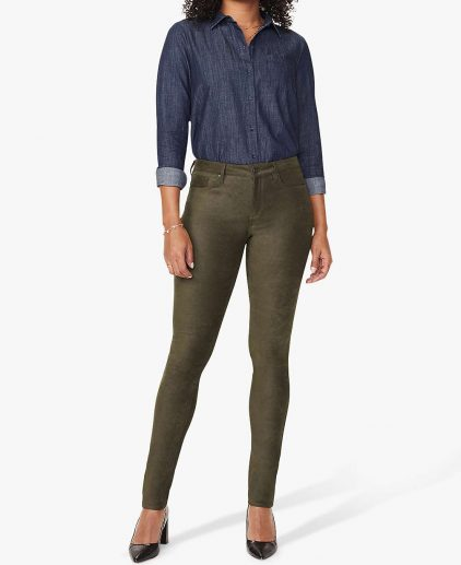 NYDJ Alina Skinny Faux Suede Trousers - Olive