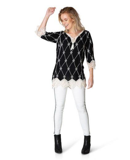 Yest black/cream boho style top 39354