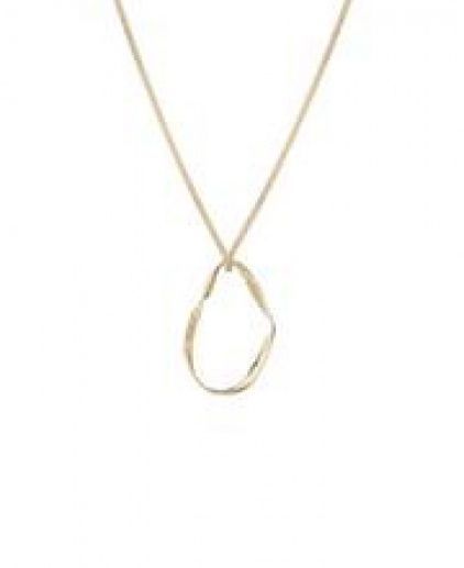 Gold necklace with twisted ring pendent
