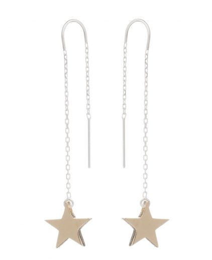 Cabbage White gold star drop ear rings