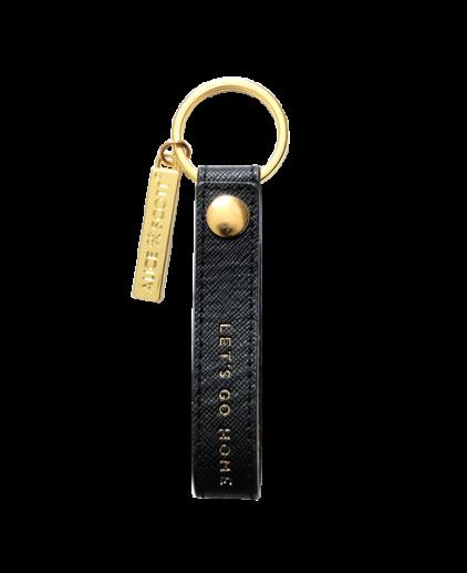 Alice Scott Black and Gold Leatherette keyring