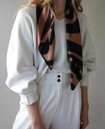 Black and tan striped square neck scarf