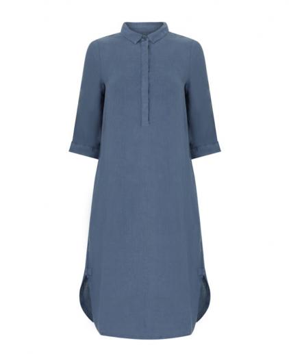 Blue linen shirt dress