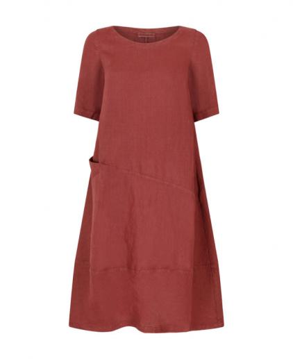 Plum linen dress