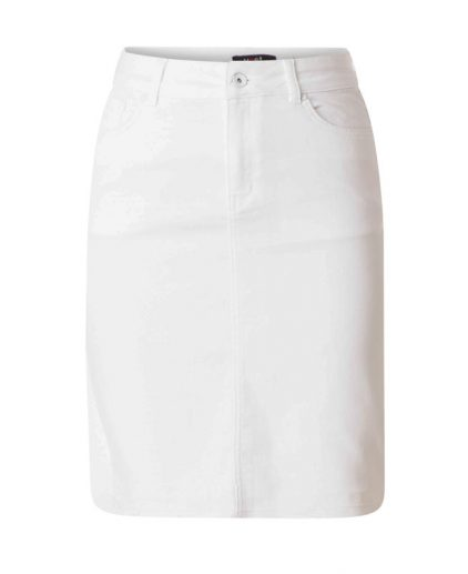White knee length denim skirt