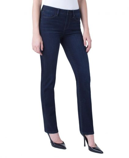 Dark Wash Mid waist straight leg jeans with stretch