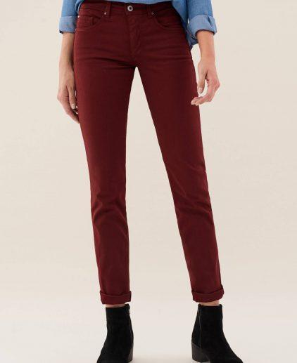 Slim leg high waist burgundy jeans