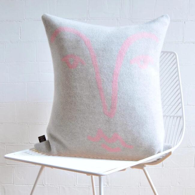 Merino wool pink face cushion