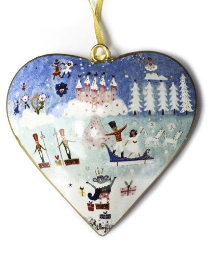 Nutcracker Metal Heart Christmas Decoration