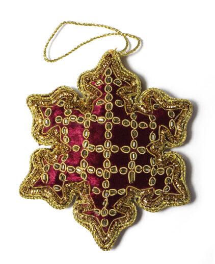 Burgundy velvet snowflake Christmas decoration