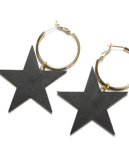 Leather black star ear rings