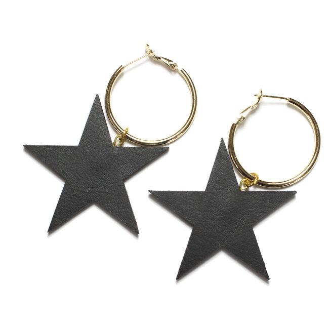 Leather black star ear rings