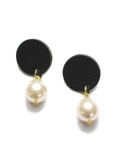 Black leather and pearl ear-rings