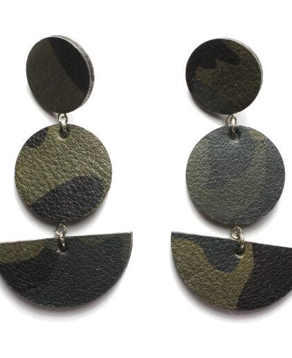 Drop ear-rings in camo leather