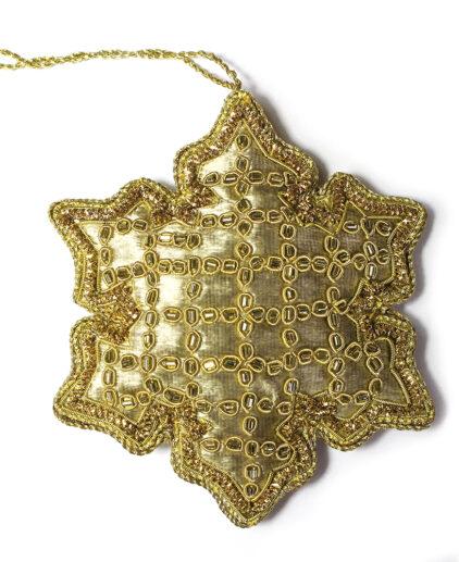 Gold velvet snowflake Christmas decoration