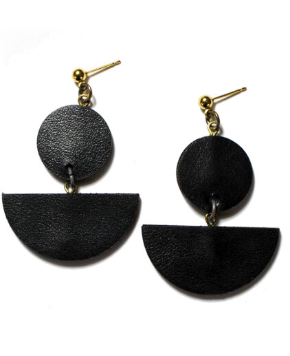 Black Leather drop ear-rings
