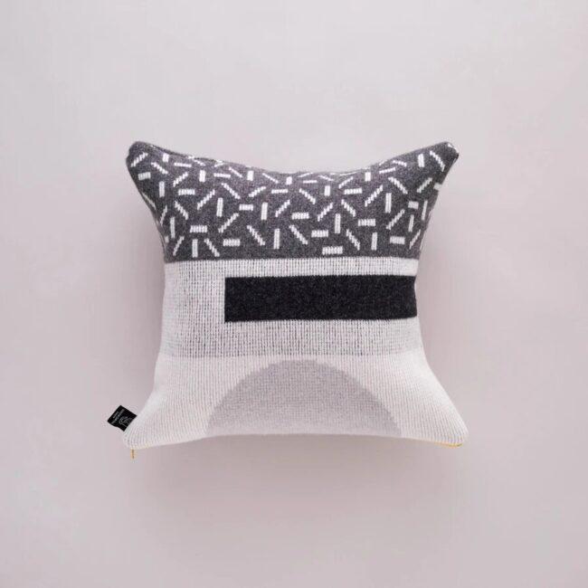 Merino wool grey geometric print cushion