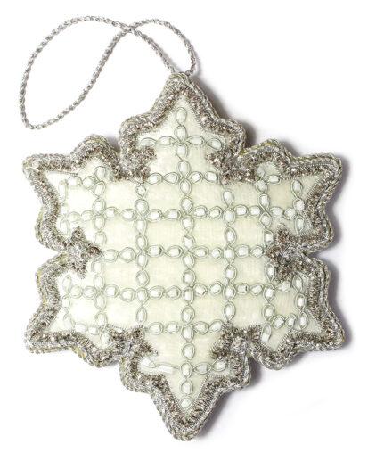 Silver Velvet Snowflake Christmas Decoration