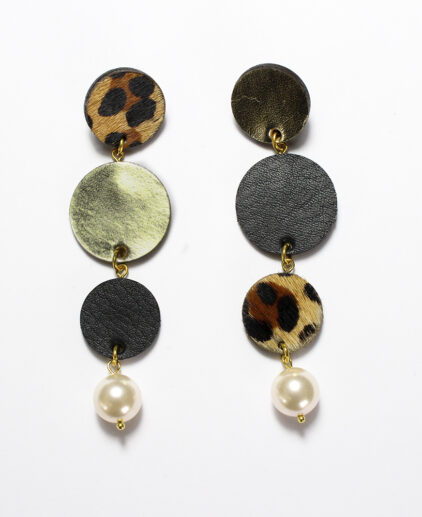 Leather & Pearl drop ear-rings